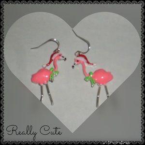 Santa Hat Flamingo Earrings